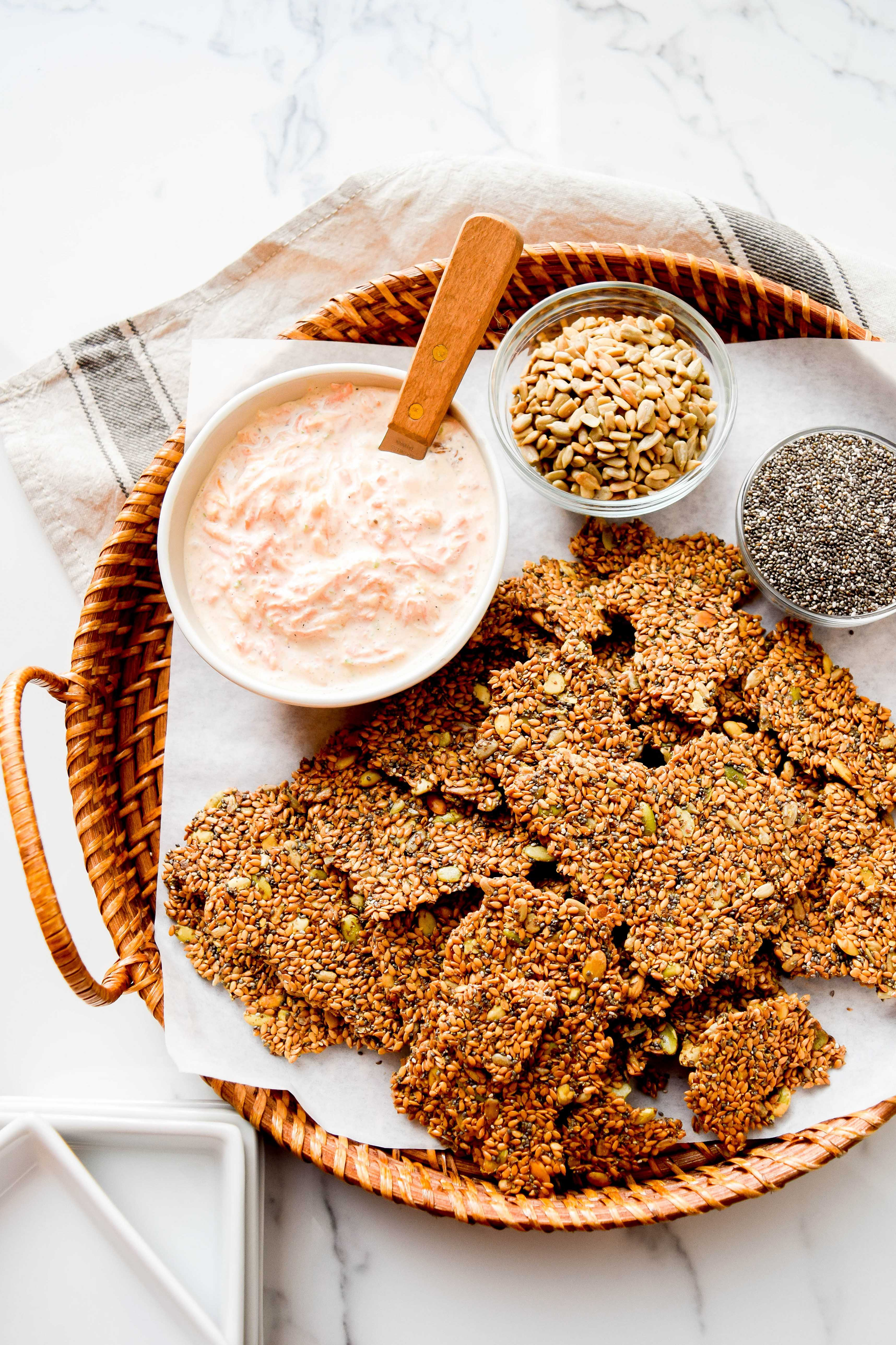 Flaxseed Crackers with Cantaloupe Yogurt Dip.