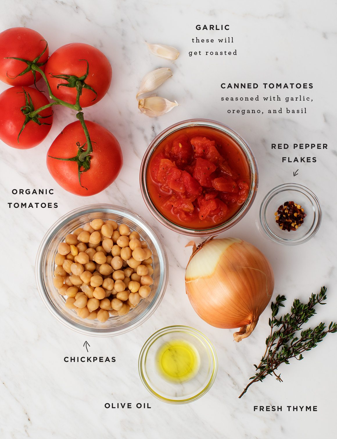 An overhead shot with vegan tomato soup ingredients.