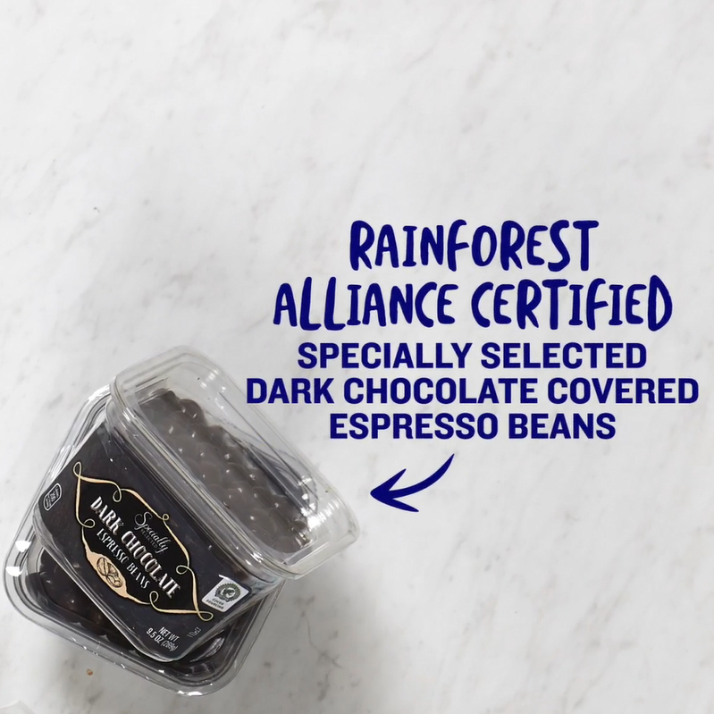Rainforest alliance certified specially selected dark chocolate covered espresso beans.
