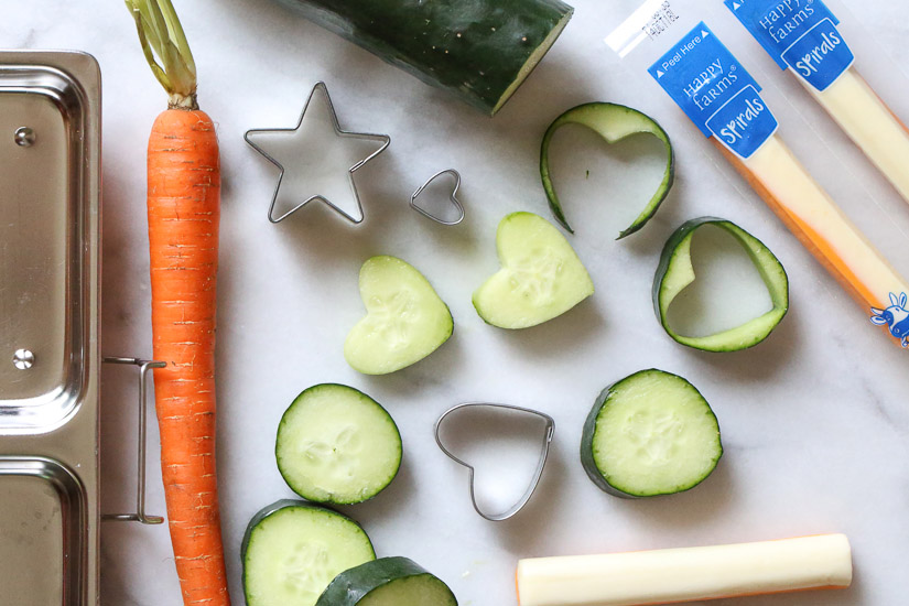 Lunch with carrots and cucumber snack.