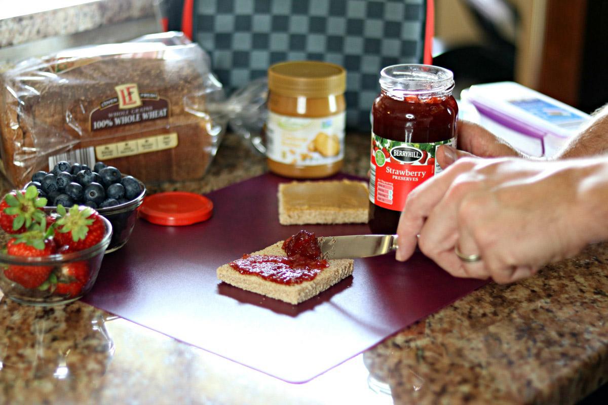 Strawberry preserve and cashew peanut butter sandwich.